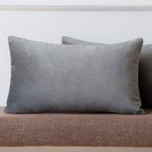2 for $35 - Gray Velvet Lumbar Pillow